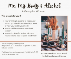 """""""Me, My Body & Alcohol"""" Group for Women - November Session Now Forming"""